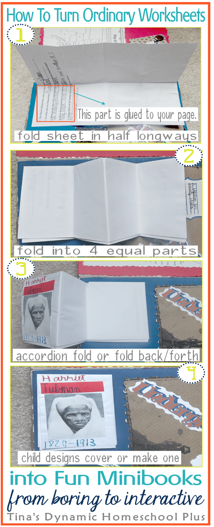 How To Turn Ordinary Worksheets into Fun Minibooks. A great way to include your middle and high school students in lapbooking @ Tinas Dynamic Homeschool Plus
