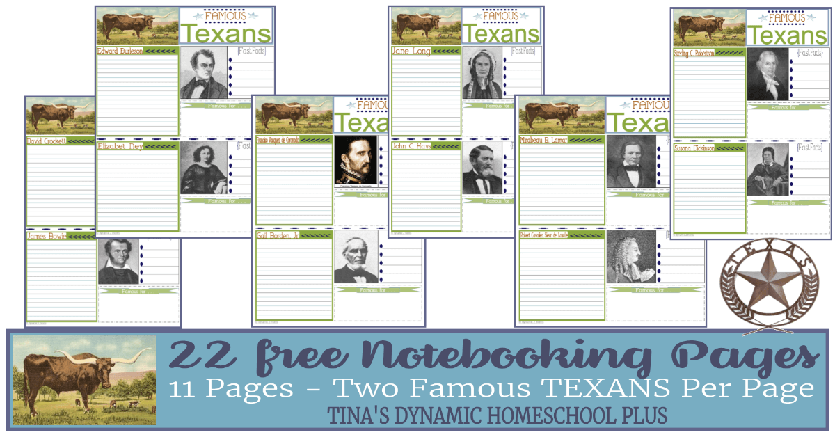 You'll love these free 11 Notebooking pages with two famous Texans per page. 22 Texans in all. Click here to grab these FREE AWESOME pages!