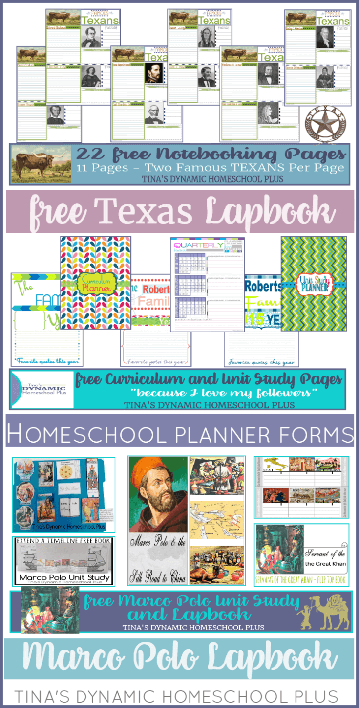 Free Texas Unit Study, Ancient Greece, and Marco Polo Unit Study AND Free Homeschool Planner Forms. Click here to grab these AWESOME freebies!