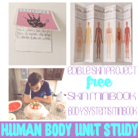 Homeschool Unit Study Human Body. Hands-on Activity 5. Edible Skin + Skin and Major Body Systems Minibook @ Tina's Dynamic Homeschool Plus Featured