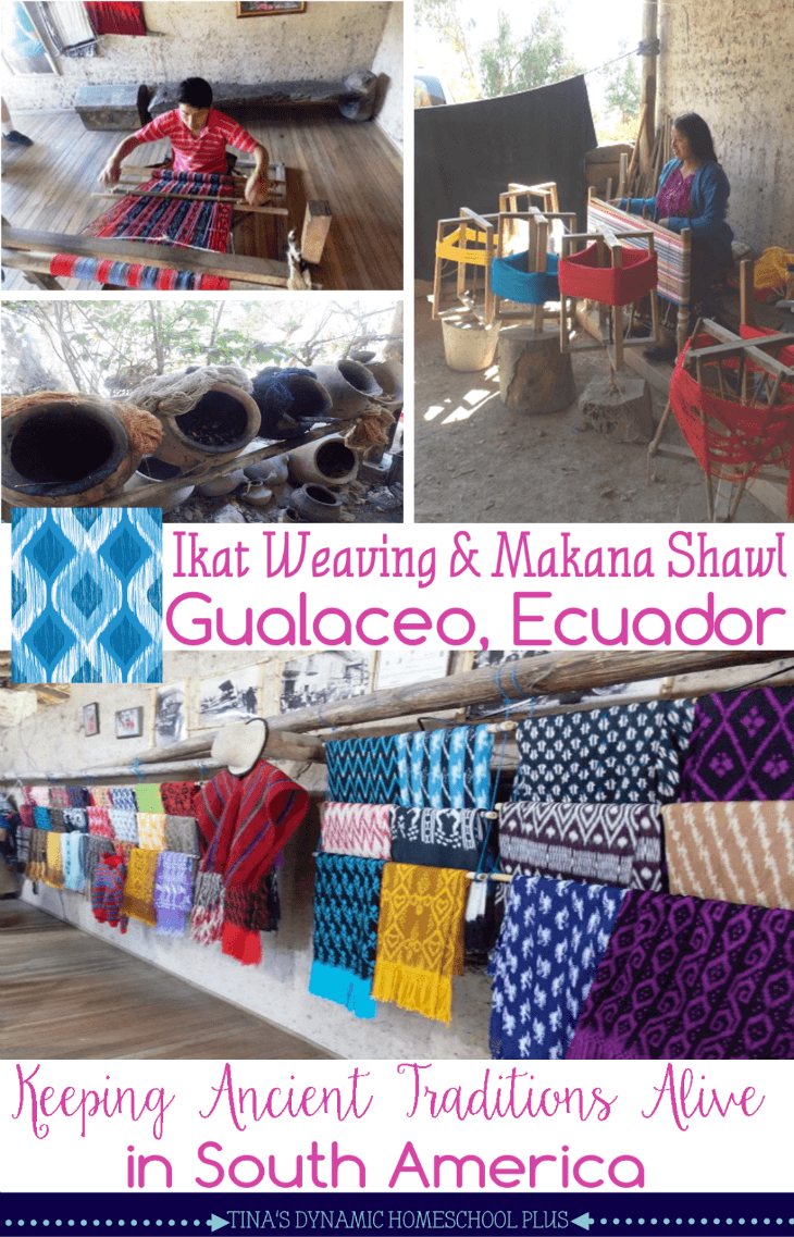 Ikat weaving and Makana shawl in Gualaceo Ecuador. The ancient art of tying and natural dying material to create the ikat pattern@ Tina's Dynamic Homeschool Plus