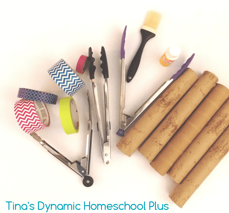 Collect items for diy paper towel holder @ Tina's Dynamic Homeschool Plus