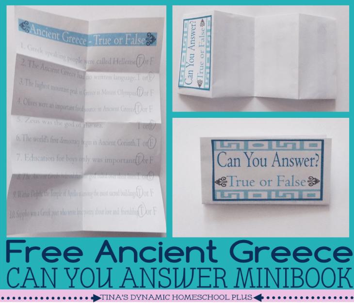 Free Ancient Greece true or false minibook @ Tina's Dynamic Homeschool Plus