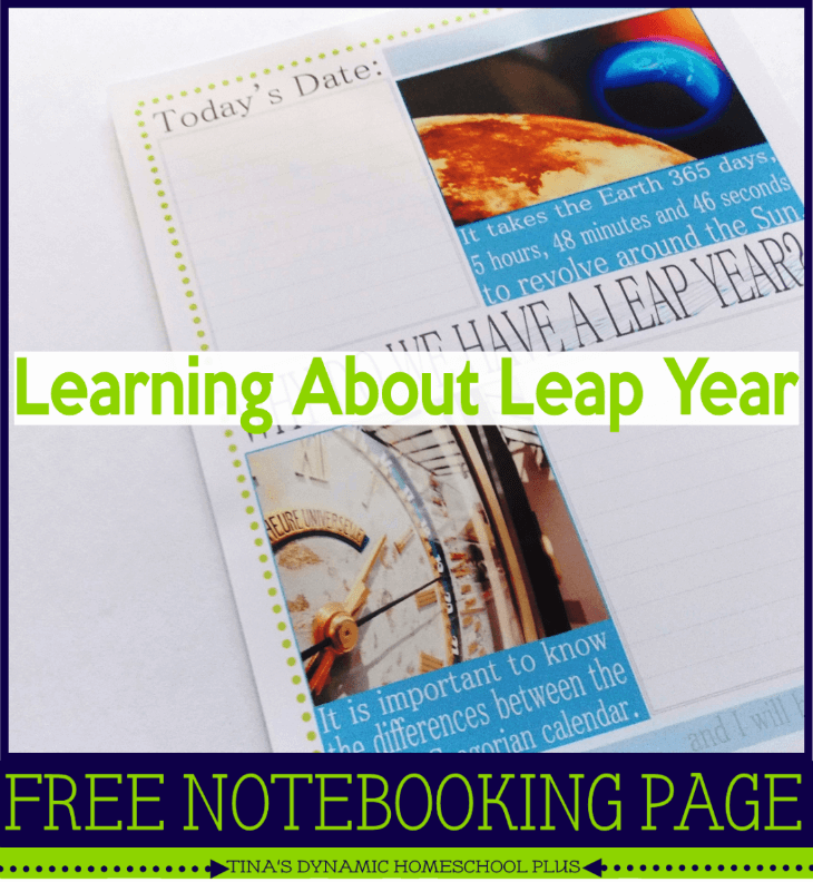 Learning about Leap Year free notebooking Page