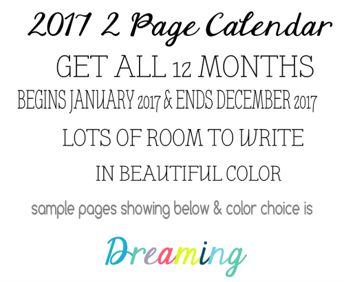 Word Art Physical Calendar Dreaming 2017