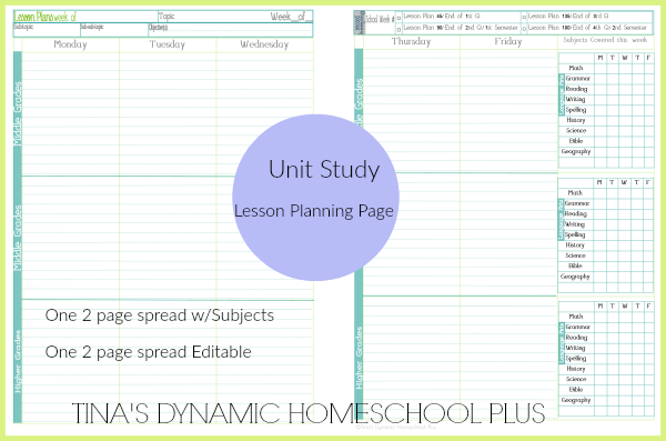 4a Lesson Planning Pages subjects filled in @ Tina's Dynamic Homeschool Plus
