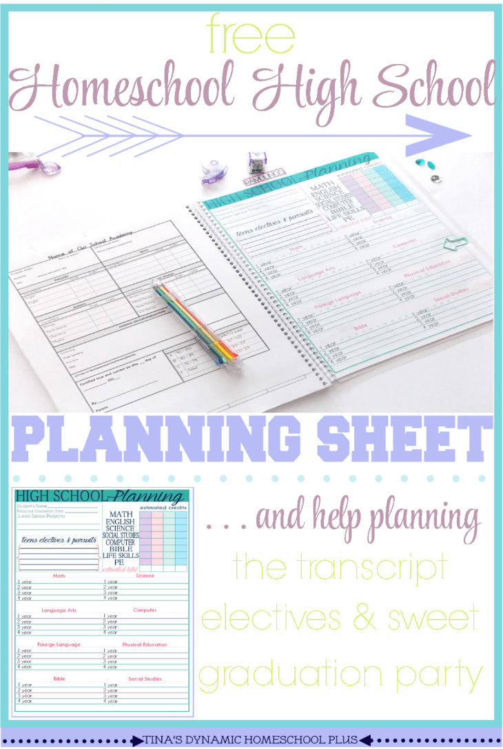 Free Homeschool High School Planning Form @ Tina's Dynamic Homeschool Plus