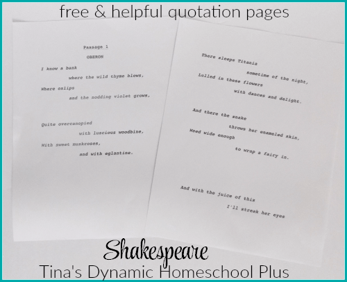 Free and helpful quotation page in How to Teach Your Children Shakespeare @ Tina's Dynamic Homeschool Plus