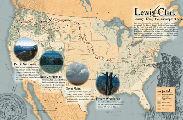 map lewis and clark journey through landscapes @ Tina's Dynamic Homeschool Plus