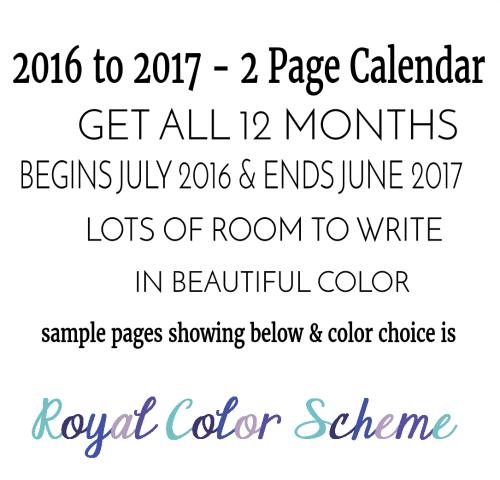 Word Art Academic Calendar Royal