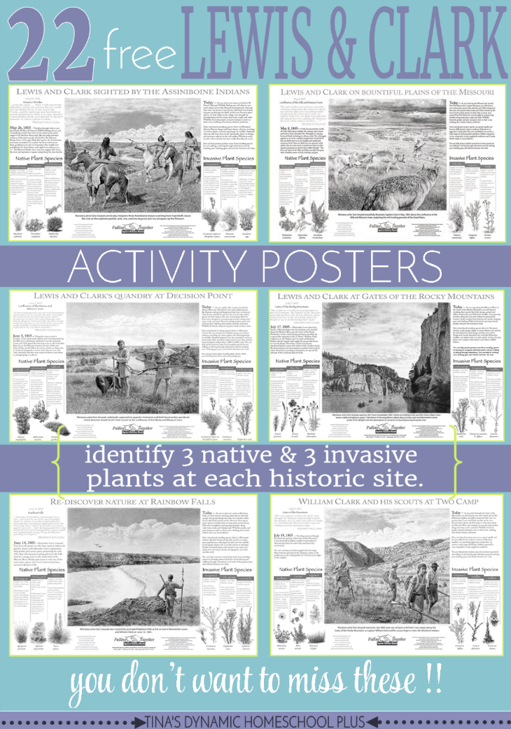 22 Free Lewis & Clark Activity Posters. You don't want to miss these awesome free downloads to help with a plant study. Grab them at Tina's Dynamic Homeschool Plus