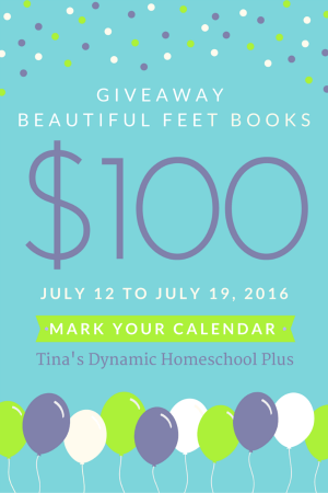 Beautiful Feet Books Giveaway of 100 toward any Beautiful Feet literature beginning 7.12 to 7.19.2016 at Tina's Dynamic Homeschool Plus