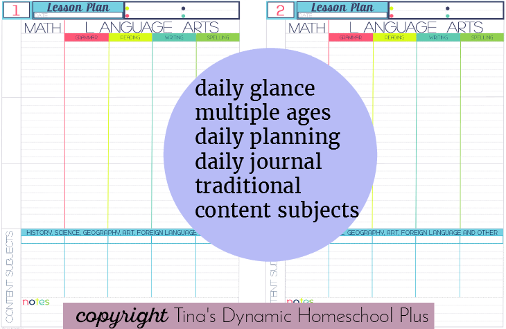 180 Lesson Plan Page @ Tina's Dynamic Homeschool Plus