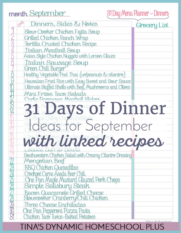 September 31 Days Of Dinner Ideas 1200X Tinas Dynamic Homeschool Plus