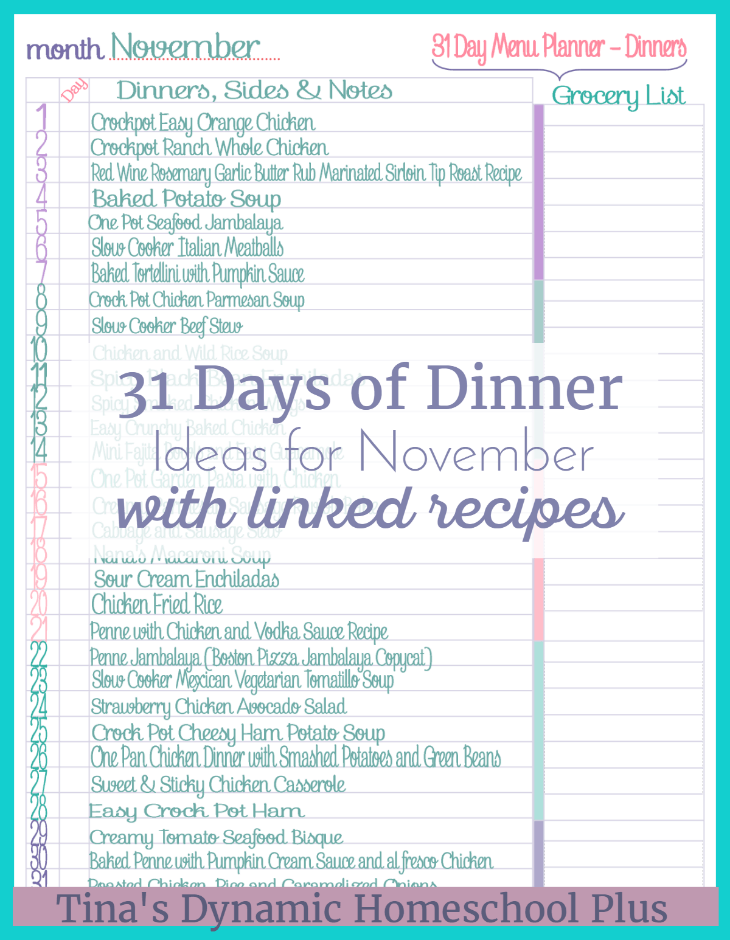 menu planning Archives - Tina\'s Dynamic Homeschool Plus