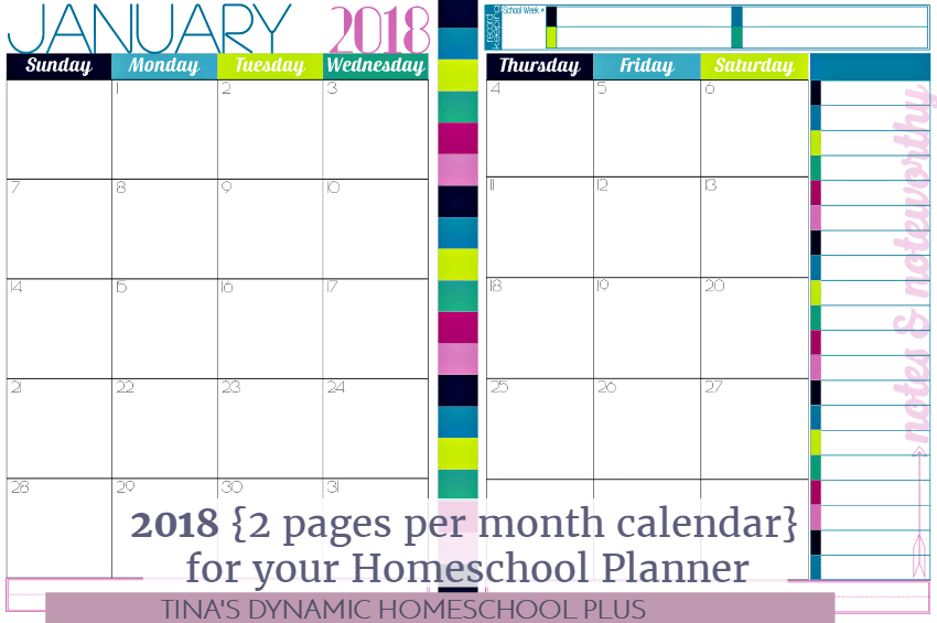 2018 two page per month calendar for your homeschool planner