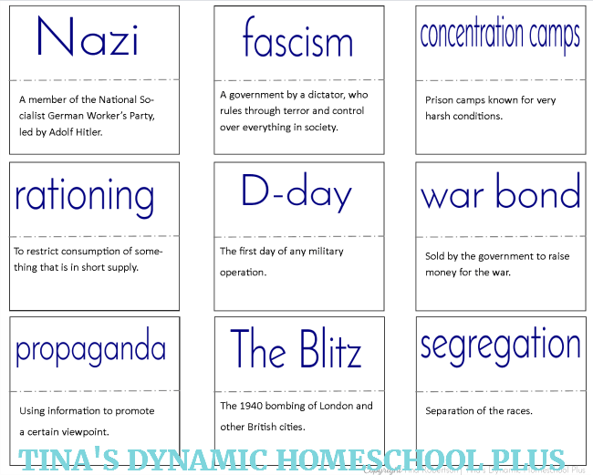 Manhattan Project, Vocabulary Words and Anne Frank Minibooks 2 @ Tina's Dynamic Homeschool Plus