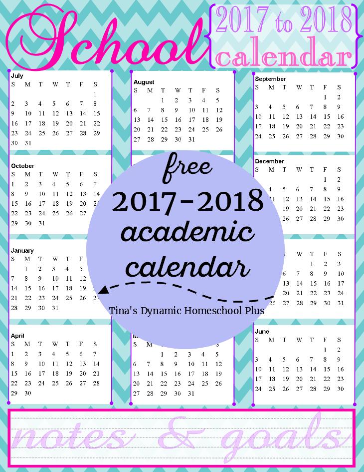 Year Calendar Pretty : Free homeschool academic year calendar to