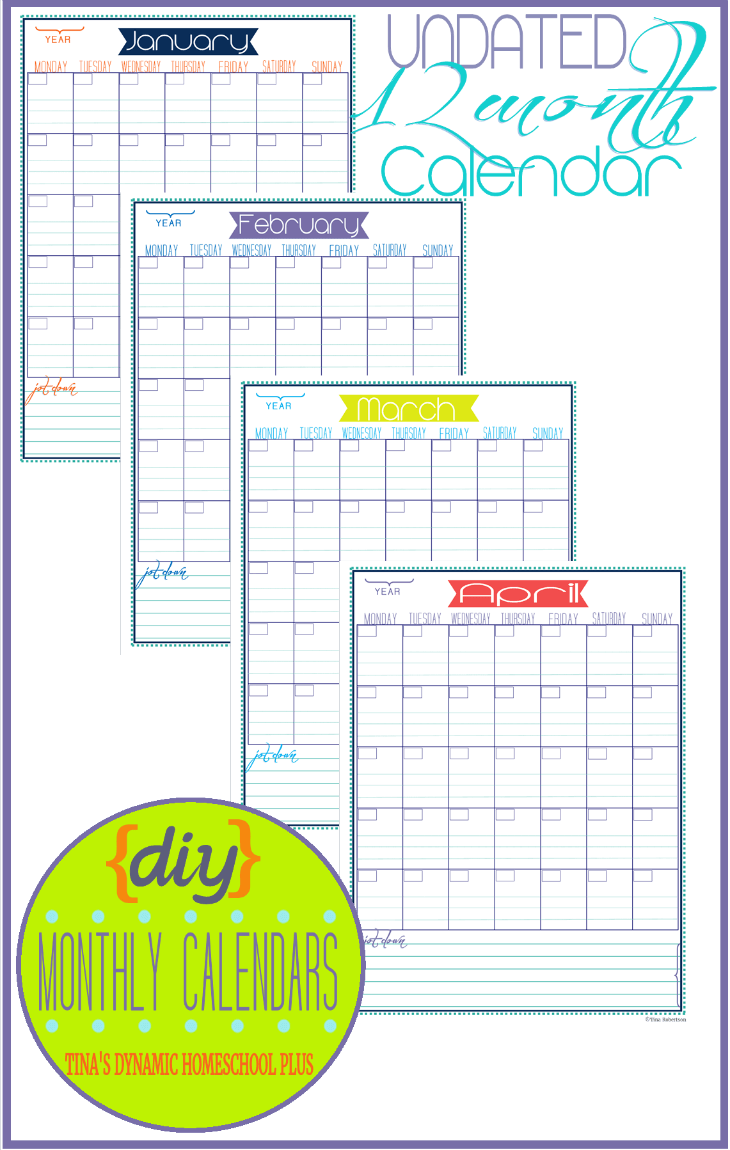 DIY Undated 12 Month Calendar @ Tina's Dynamic Homeschool Plus