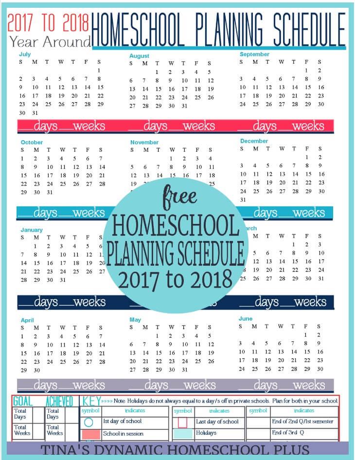 2017 to 2018 Year Round Homeschool Planning Schedule. Begin building your free 7 Step Homeschool Planner. Not another planner like it!