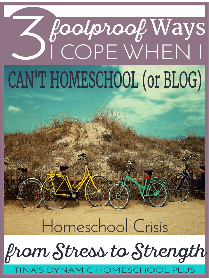 3 Foolproof Ways I Cope When I Can't Homeschool because of life's crisis. Go from stress to strength @ Tina's Dynamic Homeschool