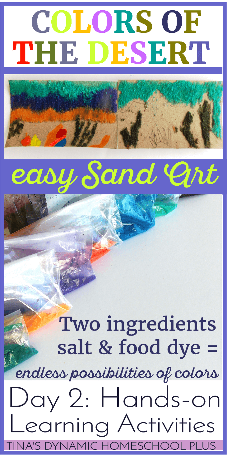 Have fun with sand art for studying about the desert. Day 2 of Hands-on Learning Activities. @ Tina's Dynamic Homeschool Plus