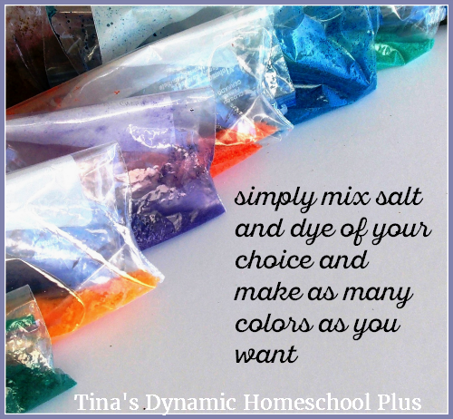 Simply mix salt and food dye to make desert sand.