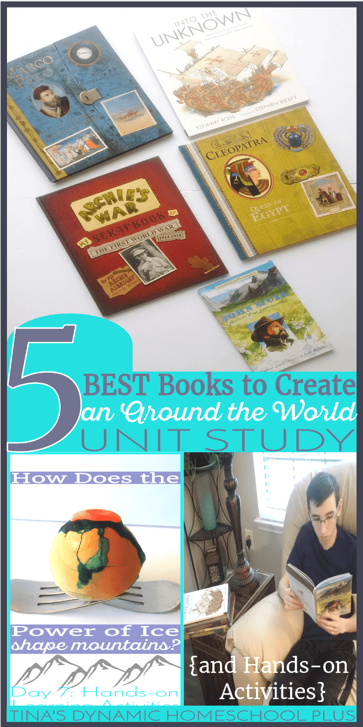 5 BEST Books to Create an Around the World Unit Study (and Hands-on Activities). When you use picture books for multiple ages of children they have a way of bringing homeschool unit studies to life. If you are looking to cover geography and history, grab these books and the easy and fun hands-on homeschool ideas @ Tina's Dynamic Homeschool Plus