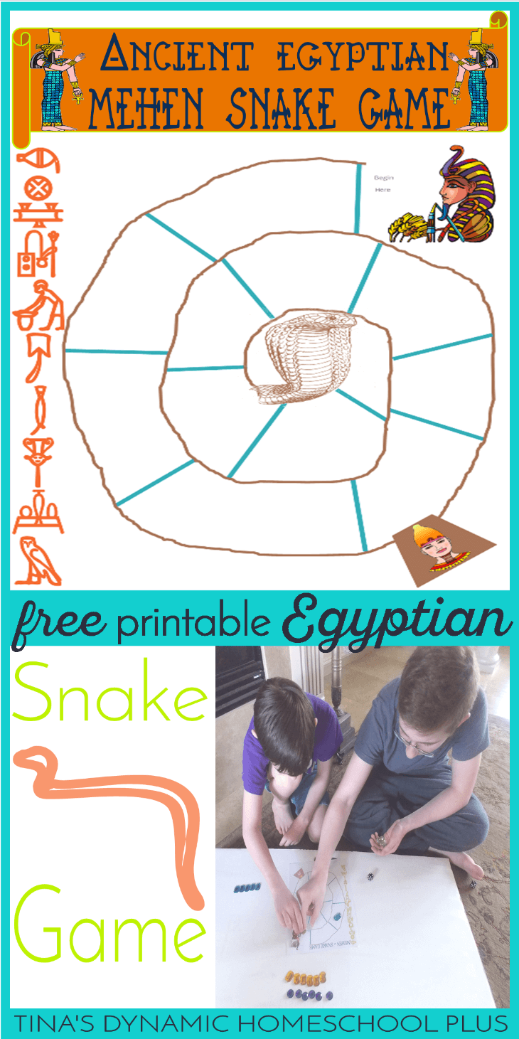 Grab this free and fun printable board game when studying Ancient Egypt. It's Mehen or the snake game for hands on history. Get it over @ Tina's Dynamic Homeschool Plus