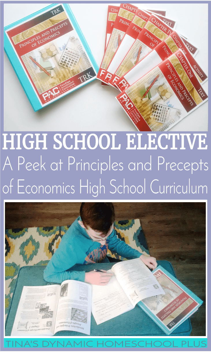 High School Elective. A Peek at Principles and Precepts of Economics Homeschool High School Curriculum @ Tina's Dynamic Homeschool Plus