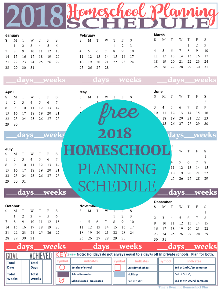 2018 Homeschool Planning Form in the Poppy color option. If you homeschool following the physical year, then grab this form to start planning the days and weeks of your homeschool. This free form is great for tracking your year. Grab it by clicking here!