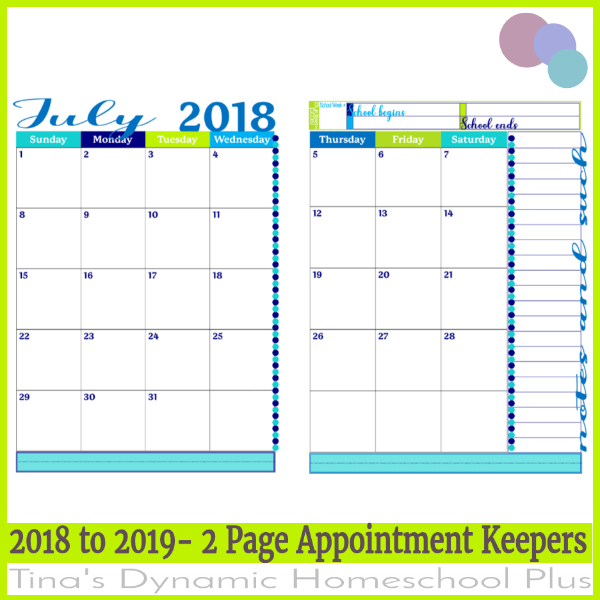 2018 2019 2 pages per month academic calendar tide pool option