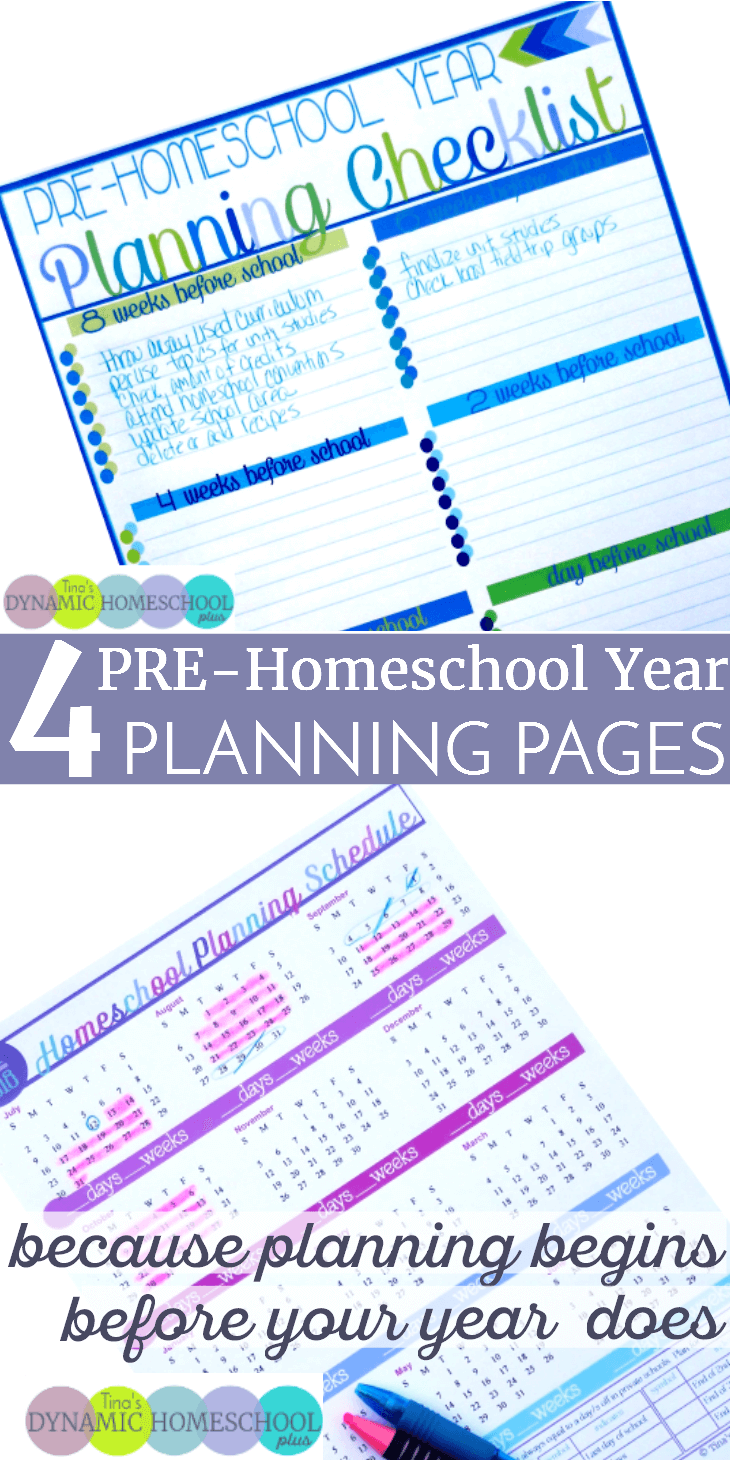 4 PRE-Homeschool Year Planning Pages (and how to use them).You need just as much time to decide which months you'll school and which months or weeks you'll take off as you do time to make curriculum choices. When it's your first day of school, you want to be ready and rested to teach without having to focus on planning. Click here to grab these four AWESOME and free homeschool planning forms!