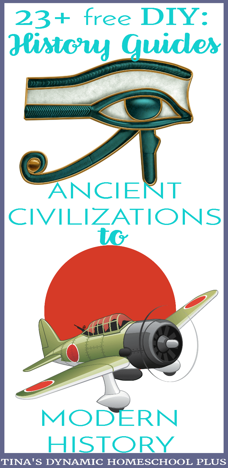 23 free DIY History Guides from Ancient Civilization to Modern History. Unlike skill subjects which require a certain sequence of objectives to follow, a content subject like history does not. Creating diy history guides become a way of hooking your kids on history because the focus is on topics which interests them. Click here to grab the guides!