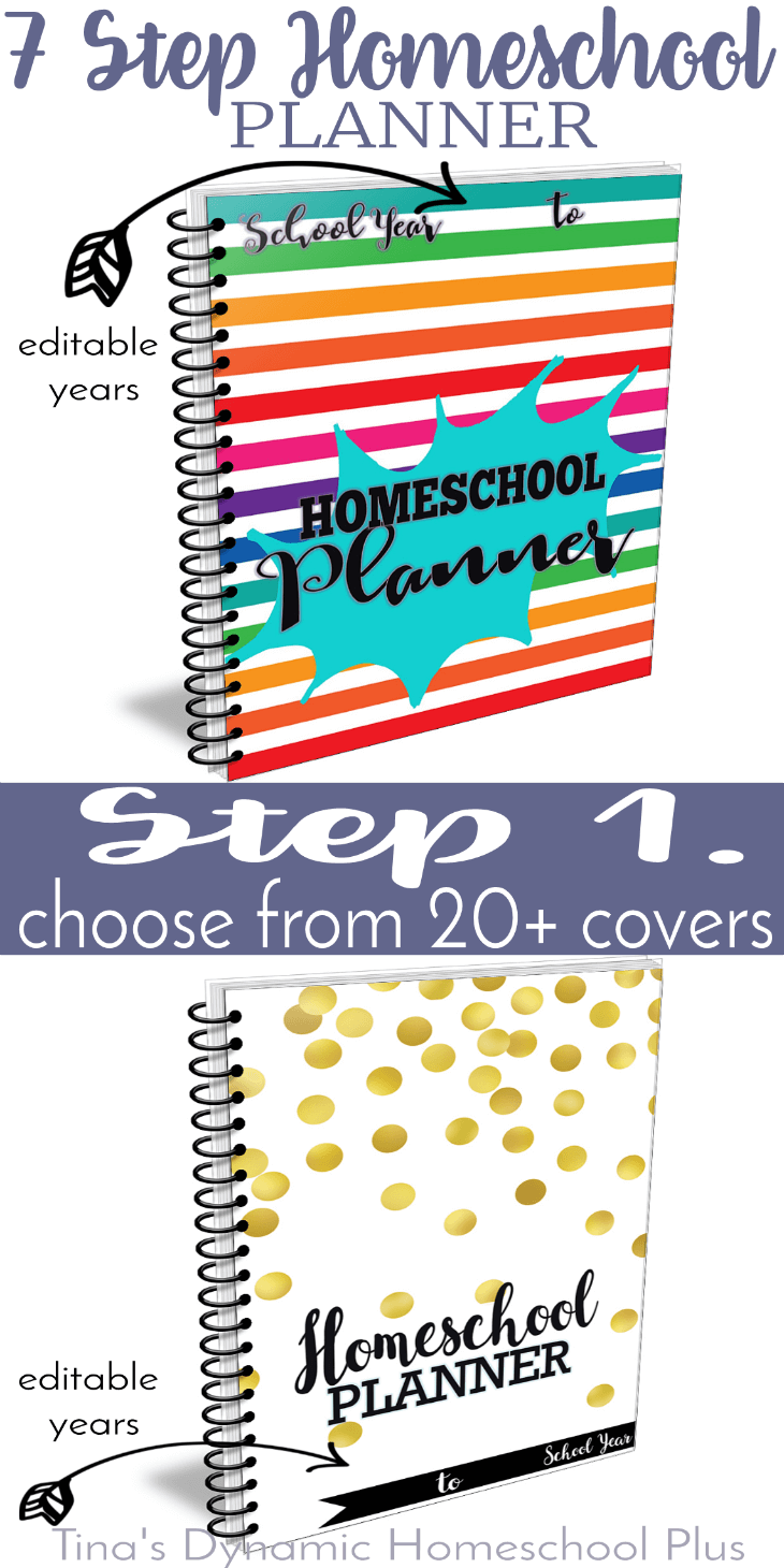 Grab these Splash and Sassy and Classy covers to begin building your UNIQUE 7 Step Homeschool Planner. Click here!