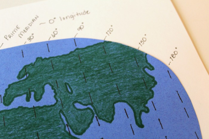 Marking Longitude and Latitude Map Lines @ Tina's Dynamic Homeschool Plus