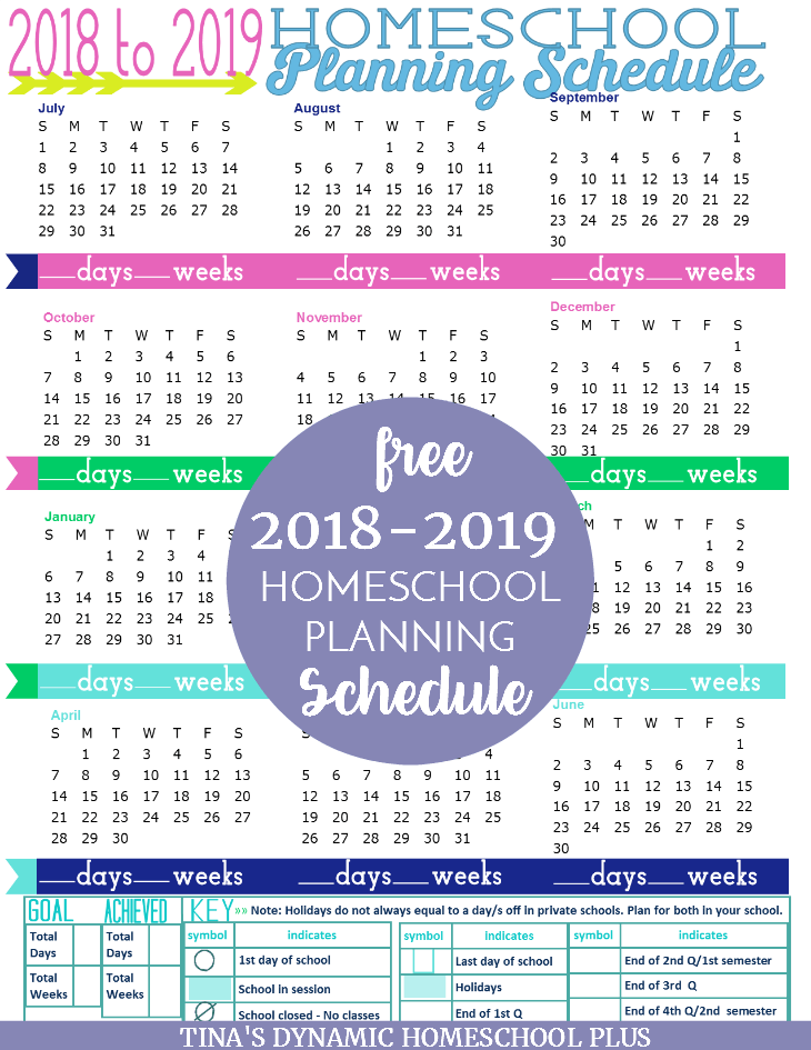 Free 2018 to 2019 Homeschool Planning Schedule. Grab your copy today because it's never too early to begin homeschool planning. Click here!