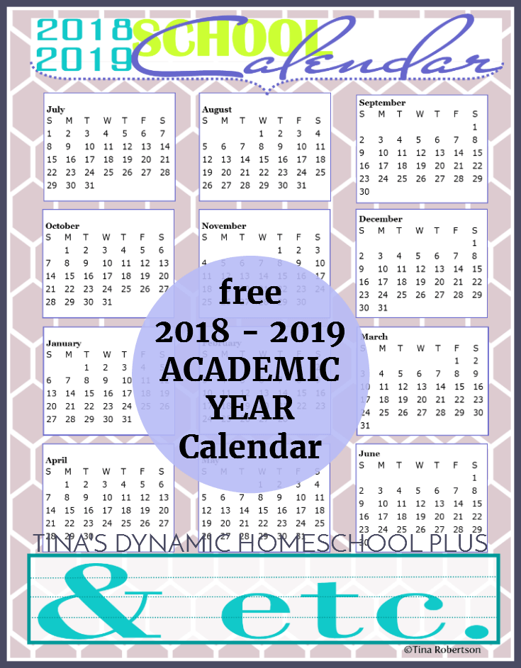 free 2018 to 2019 homeschool year academic calendar scoot by to grab your copy