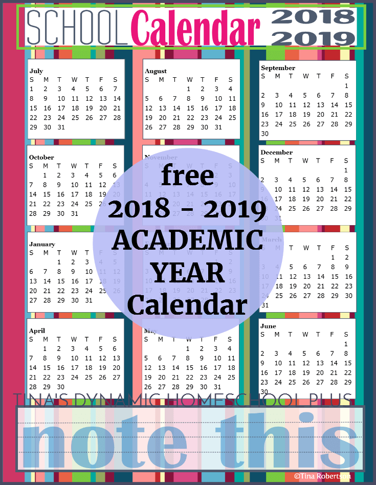 Free 2018 to 2019 Homeschool Year Academic Calendar. Scoot by to grab your copy!