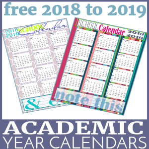 Free 2018-2019 Academic Year Calendars – Planner Pages