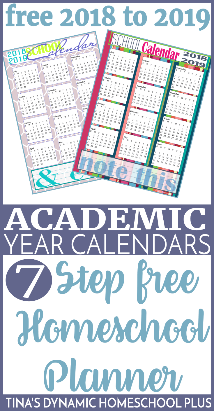 Free 2018 to 2019 Academic Year Homeschool Calendars. Don't forget when putting together your homeschool planner that I have calendar pages like the ones today which are to be used for reference purposes, homeschool planning calendars which are to be used for tracking school week, and 2 page per month appointment keepers for tracking appointments.You'll want a set of one or more in your homeschool planner each year.Grab these AWESOME calendars here!