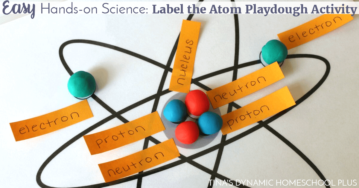 Easy hands-on science: Label the Atom Playdough Activity