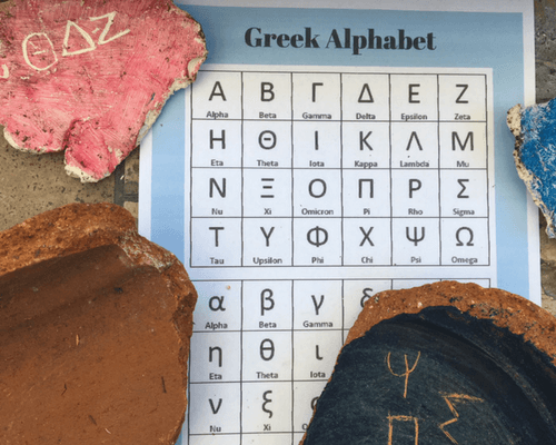 Ancient Greece Pottery and Greek Alphabet Writing