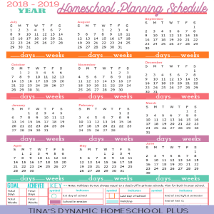 Free 2018-2019 Year Round Homeschool Planning Form (Sunset Color)
