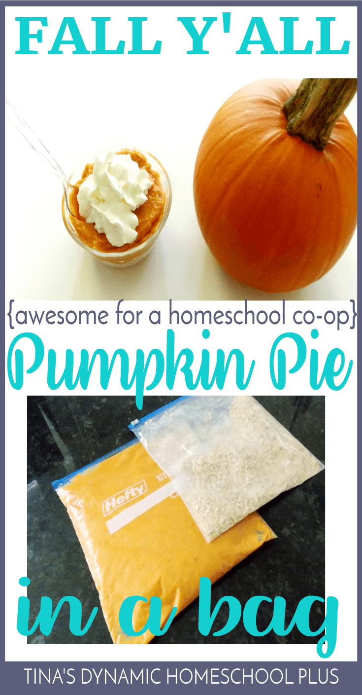 Fall Y'all. This is a fun activity for a homeschool co-op. Make pumpkin pie in a bag. Scoot by and see how to make this EASY activity. Your kids will love it. Click here! #pumpkin #homeschool