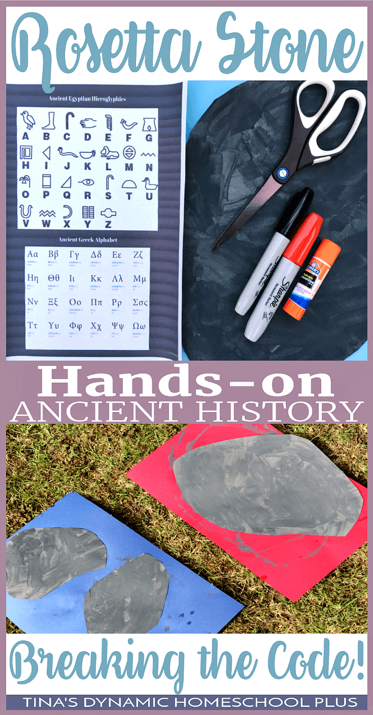 Hands-On History: The Rosetta Stone and Breaking The Code. If you're studying Ancient History, your kids will love making this AWESOME easy hands-on activity to learn about the Rosetta Stone. Click here to make it!