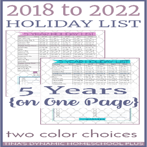 2018 to 2022 Holiday List on One Planner Page (5 Years)