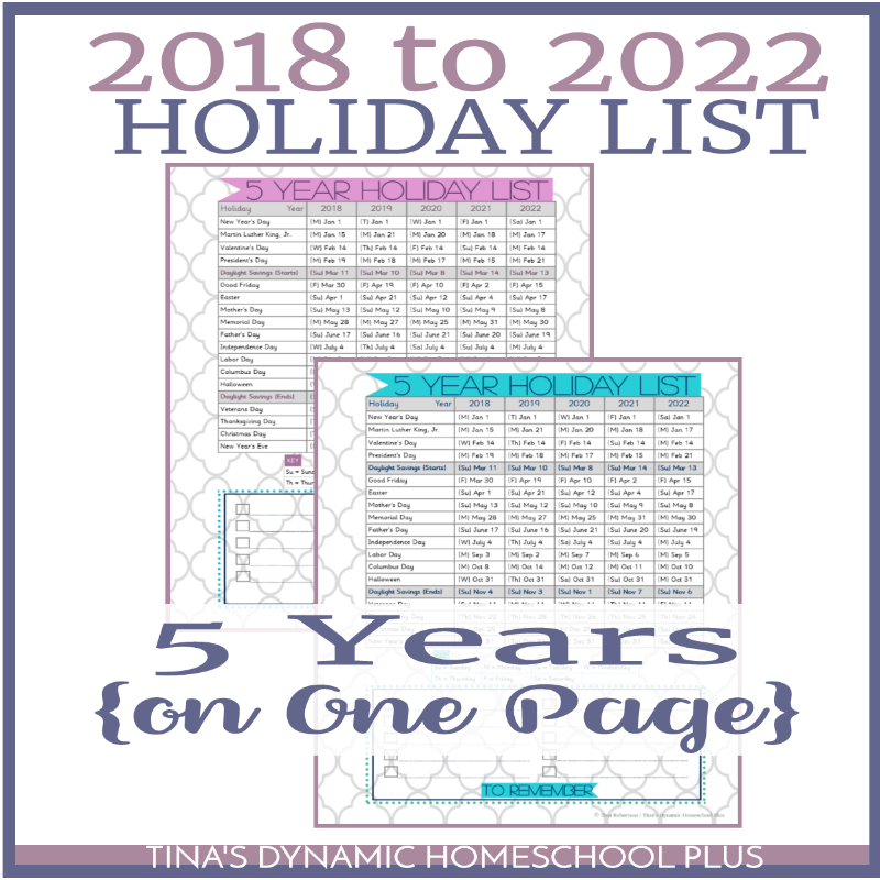 Add one or two of these pages to your planner. It is 5 years of holiday dates and daylight savings dates on one page for easy reference. It is a nifty hard- working tool because I use it for both short-term and long-term planning. There are two BEAUTIFUL colorful choices. Click here to grab your free copy