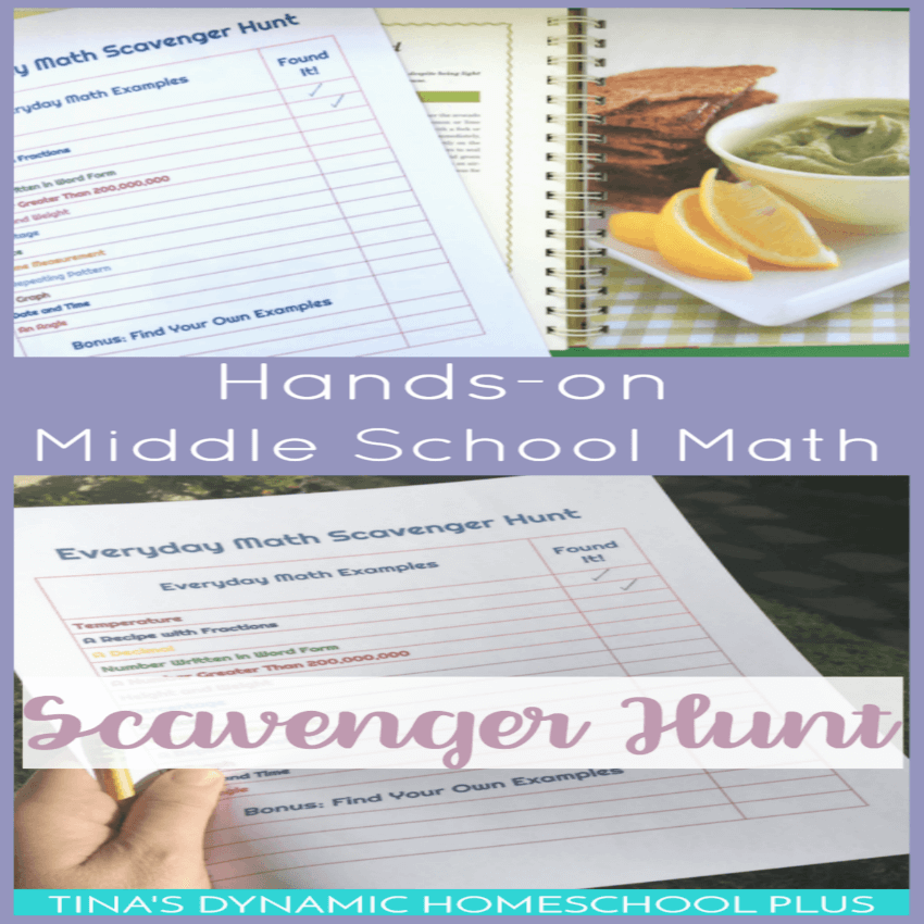 Hands-on Middle School Math and printable scavenger math hunt