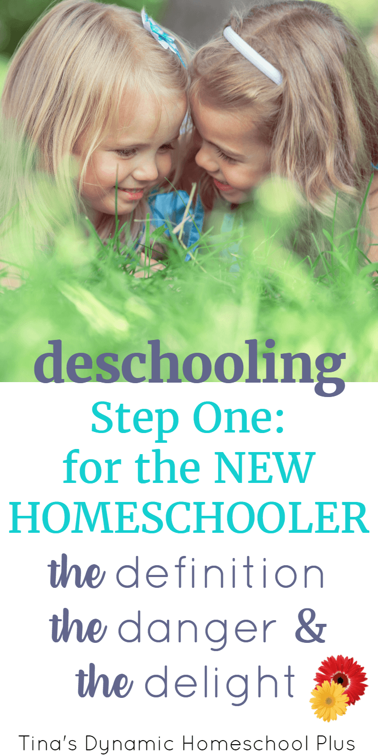 Deschooling: Step One for the New Homeschooler (the Definitions, the Dangers, and the Delight). Take the kids out of public school one day, begin homeschooling the next day; it's a common rookie mistake. And it seems almost impossible to change to a relaxed mindset when you jump from one stressful situation into another one. Deschooling is the first step for any new homeschool family. CLICK HERE to grab these AWESOME tips from a seasoned veteran!